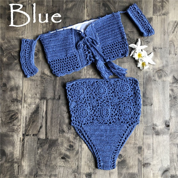 Crochet High Leg Bandeau Bikini Set Swimwear Female Two Pieces Swimsuit High Waist Bikini Women Bathing Suit Biquini  New