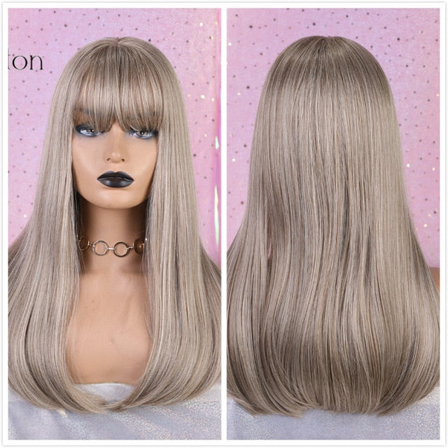 ALAN EATON Long Ombre Brown Blonde Wigs with Bangs Cosplay Synthetic for Black Women Afro Straight Natural Party False Hair Wigs