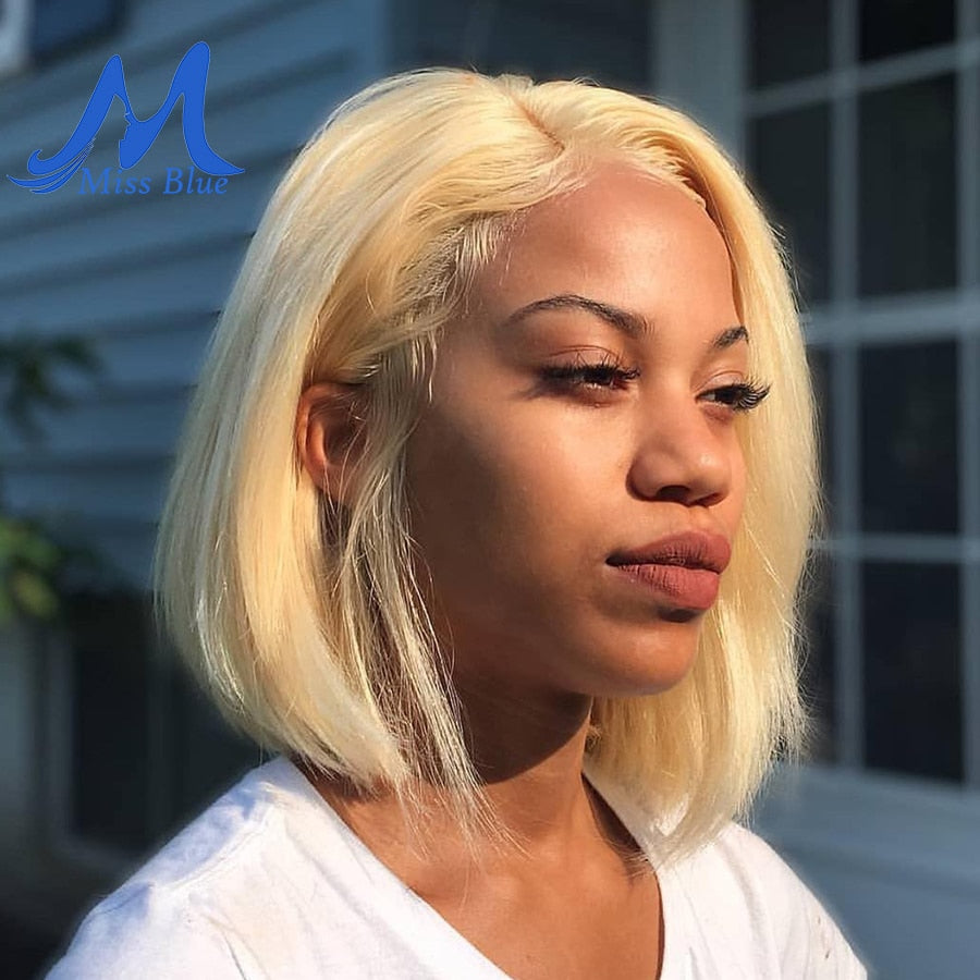 Missblue 13x6 Lace Front Human Hair Wigs For Black Women 613 Blonde Short Bob Transparent Lace Wigs Brazilian Hair Pre Plucked
