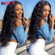 "150% Curly Hair Lace Front Human Hair Wigs Pre-plucked Msbeauty Malaysian Remy Hair 13x4 Lace Frontal Wig Middle Ratio 10""-30"""