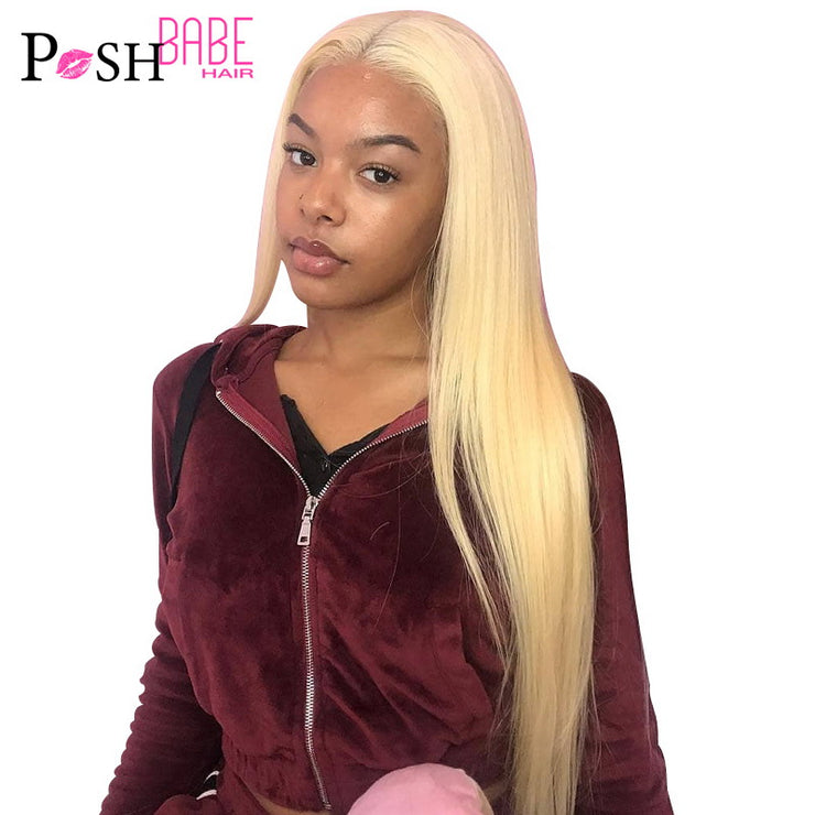613 Honey Blonde Color Remy Brazilian Straight Lace Front Human Hair Wig 8 - 26 inch 1B 613 Ombre Frontal Wigs for Black Women