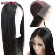 "150% Straight Lace Front Human Hair Wigs 13X4 Indian Wig With Baby Hair Pre Plucked Remy Hair Lace Wig Middle Ratio 10""-30"" Inch"