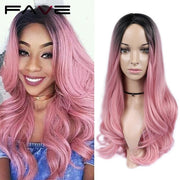 FAVE Mixed Black Ash Light Brown Blonde Synthetic Wig Body Wave MiddlePart Heat Resistant Fiber For Black Women Cosplay Long Wig
