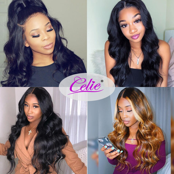 Celie Hair Lace Front Human Hair Wigs 180 200 250 density Pre Plucked 360 Lace Frontal Wig Brazilian Body Wave Lace Front Wigs