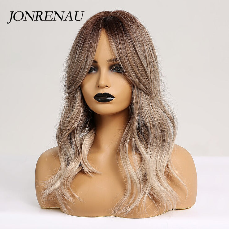 JONRENAU 16 Inches Synthetic Platinum Blonde Hair Long Natural Wave Ombre Brown Mixed Color Party Wigs for White/Black Women