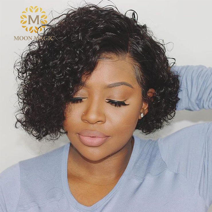 Curly Bob Lace Front Wigs For Black Women Short Bob Wig Lace Front Human Hair Wigs Pre Plucked Pixie Cut Lace Wig 250 Density