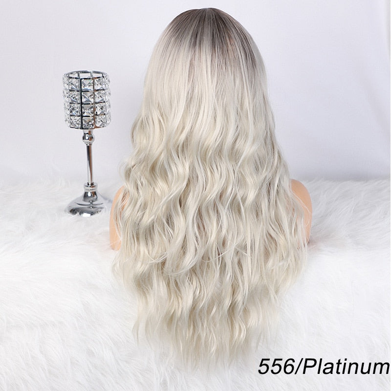 AISI HAIR Long Wavy Ombre Blonde Wig Platinum Blonde Synthetic Wigs for African American Women Two Tone Natural Middle Part Wig
