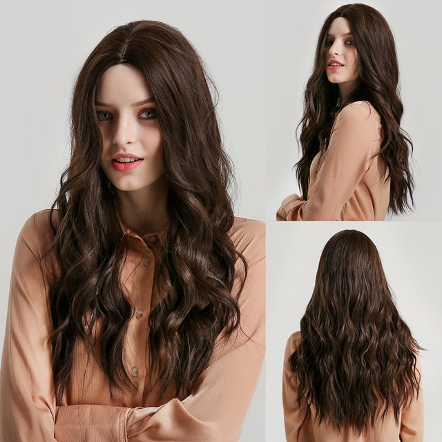 JONRENAU Long Ombre Brown to Beige Wig Synthetic Natural Wave Hair Wigs for White/Black Women Party Wig
