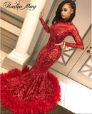 Sexy Mermaid Red Feather African Prom Dresses with Train Long Sleeves High Neck Sparkly Sequin Plus Size Formal Graduation Dress