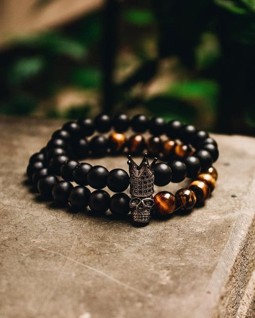 Stone Beads Bracelet Men Accessories Crown Braclets Handmade 2 Piece Set Erkek Bileklik Skull Jewelry Mens Bracelets For Women