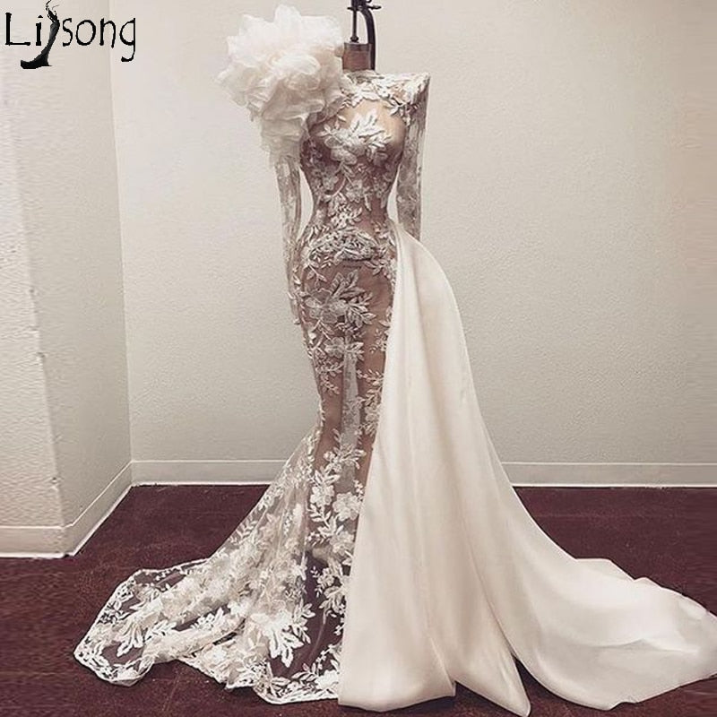 Couture Sheer Lace Mermaid Evening Dress Long Sleeves Ruffled Illusion Chic Prom Gowns Bride Wear Formal Dress with Lining
