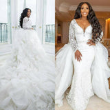 African Sexy Long Sleeves Mermaid Wedding Dresses With Detachable Train Lace Appliqued Beaded Plus Size Bridal Gowns
