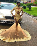 African Black Girl Long Sleeve Prom Dresses  High Neck Sexy See Through Gold Appliques Long Mermaid Prom Dress