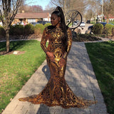 African Black Girl Long Prom Dress New Arrival Long Sleeve Sparkly Gold Sequin Mermaid Prom Dresses