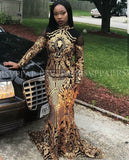 Black/Gold Mermaid Long Prom Dresses  Glitter Sequin Backless High Neck Long Sleeve Africa Black Girl Prom Dress