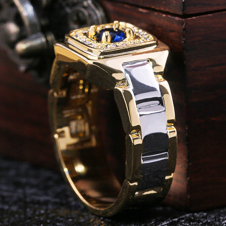 Huitan Party Men Rings Creative Watch Shaped Two Tone Design Rings For Men Wedding Ring With Size 6-14 Male Jewelry Wholesale