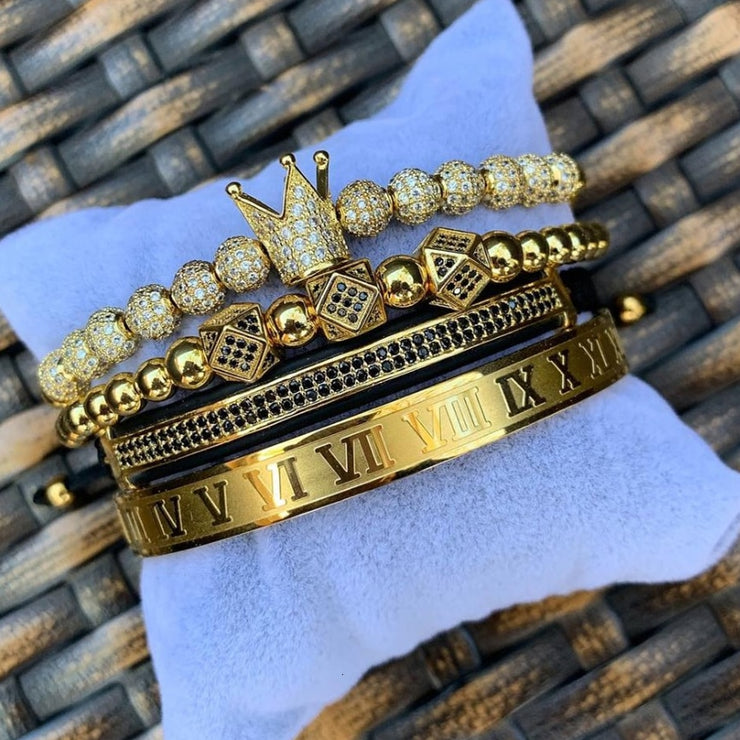 Luxury Roman Royal Crown Charm Bracelet Men Fashion  New Gold Braided Adjustable Men Bracelet For Hip Hop Jewelry Gift