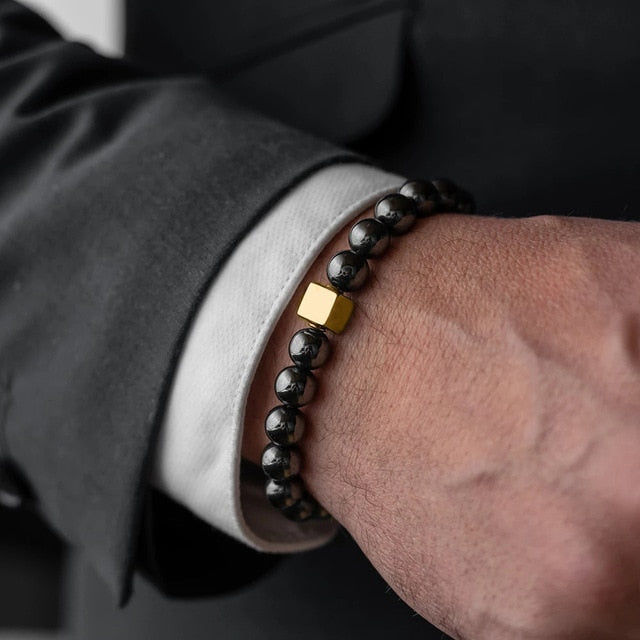 Men Bracelet  Essential Charm Jewelry Fashion Luxury Golden & silver cube 8mm tiger eye stone bead handmade Bracelets Male homme