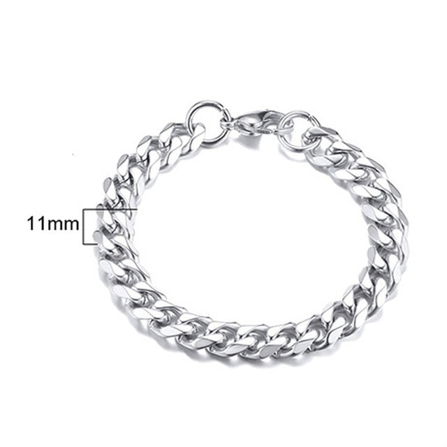 Men's Bracelet Curb Cuban Link Chain Stainless Steel Mens Womens Bracelets Bangle Gold Tone No Fade 3mm to 11mm