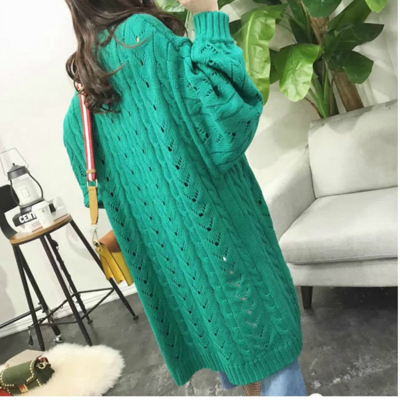 Knitted Sweater Female Fashion Bat Sleeve V-neck Cardigan Women Harajuku Long Loose Casual Sweater Women's Clothing Korean