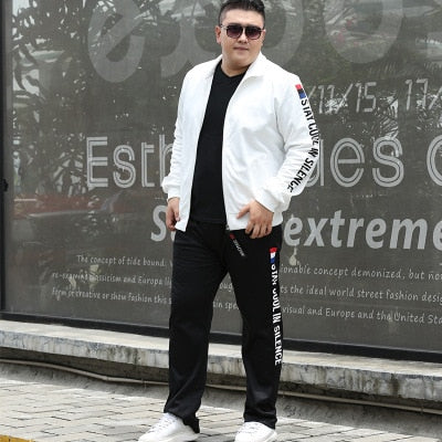 M-9XL Large Size Tracksuit Set Men Autumn Spring Sportwear Men Zipper Coat Pants 2 Piece Sets Sweat Suit Sporting Fitness Sets