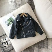 Baby Girl Boy Spring Autumn Winter PU Coat Jacket Kids Fashion Leather Jackets Children Coats Overwear Clothes 1-10age