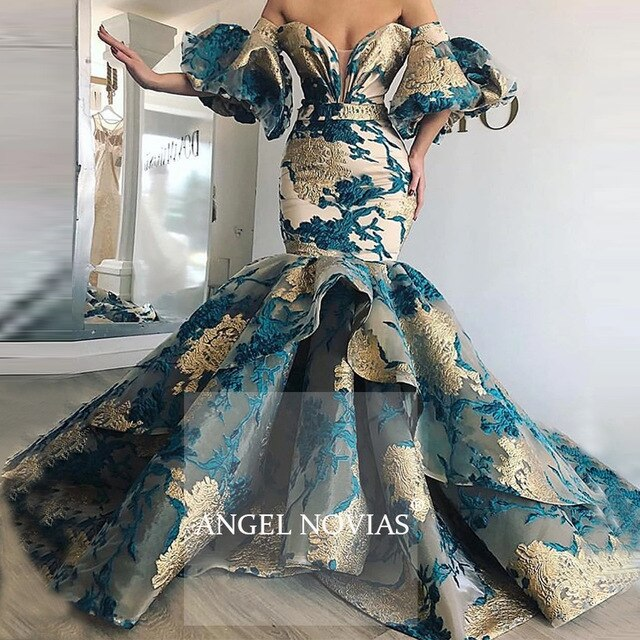 Long Mermaid Off Shoulder Arabic Lace Evening Dress  Saudi Arabia Dubai Moroccan Sexy Formal Prom Gowns