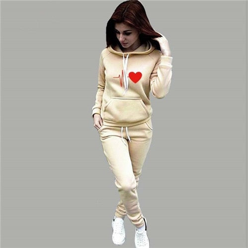 Autumn Winter 2 Piece Set Women Hoodie Pants Printed Tracksuit Pullover Sweatshirt Trousers With Pockets Tracksuit Suits