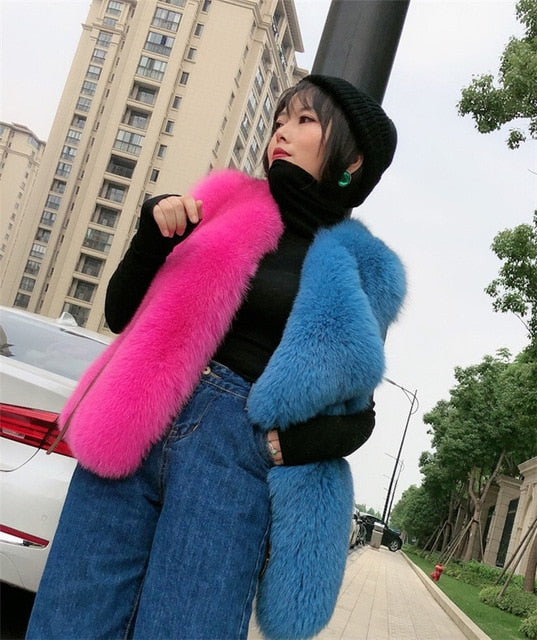 winterjas dames Natural Full Pelt Real Fox Fur Vest Suit Collar Women Genuine Fox Gilet Winter Medium Waiscoat