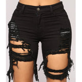 New Sexy Women Ladies Denim Skinny Ripped Shorts High Waist Hole Destroyed Draped Stretch Bodycon Jeans Slim Shorts