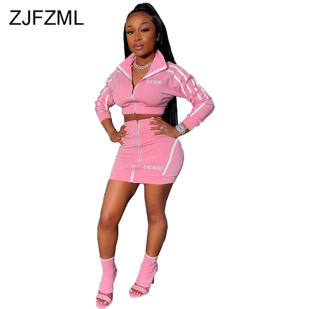 Zippers Striped Patchwork Two Piece Set Women Stand Collar Long Sleeve Crop Tops+High Waist Mini Skirts 2 Piece Female Tracksuit