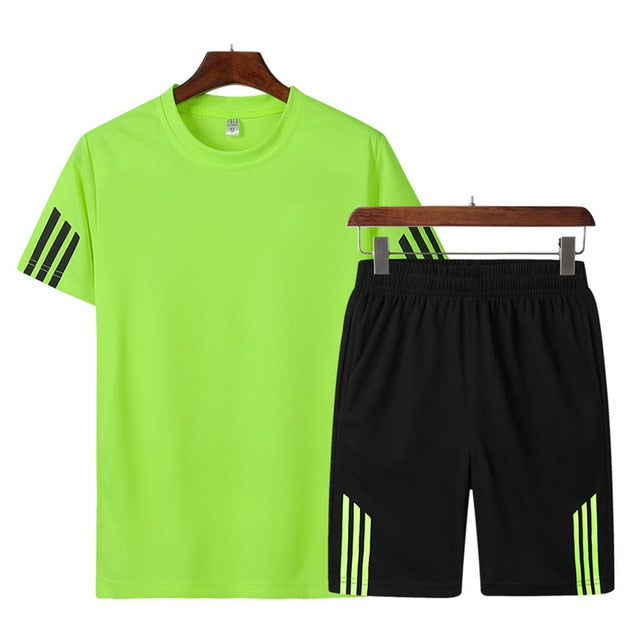 Hot Sale Fashion Men Clothing  Summer 2pc Tracksuit Short Sleeve T-shirt + Shorts Sets Beach Male Casual Striped Sportswears