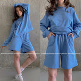 Womens Tracksuits 2 Piece Set Summmer Autumn Oversize Sweatshirt + Sporting Shorts Sweat Set Two Piece Outfit Solid Color Sets