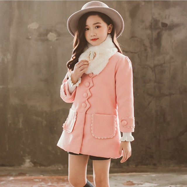 Girls Warm Winter Coat Thickened Faux Fur Fashion Long Kids Hooded Jacket Coat for Girl Outerwear Girls Clothes 3-12 years old