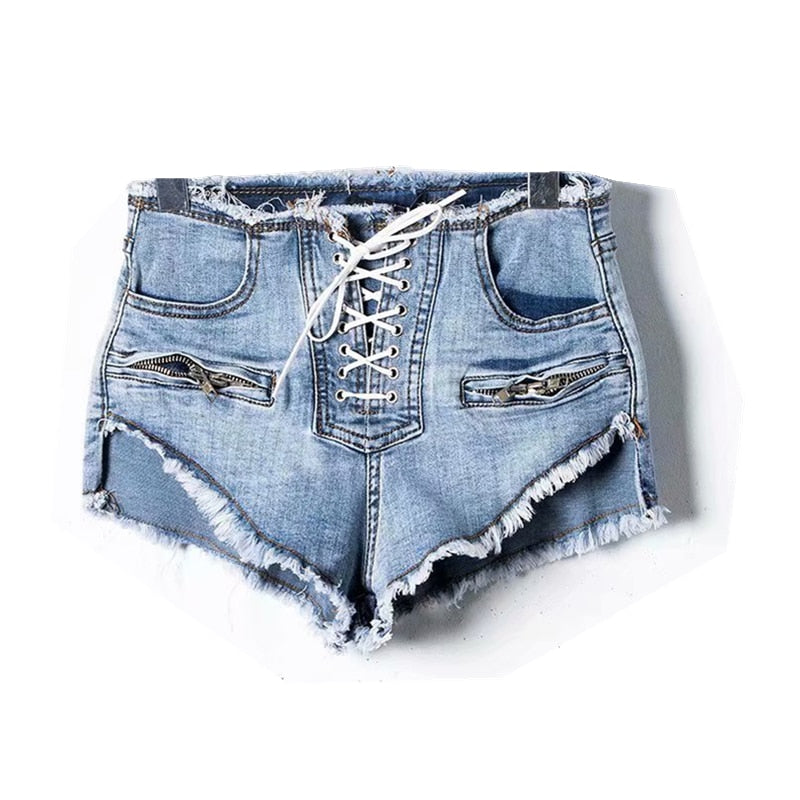 Vintage Chic Women Loose Mid waist crimping denim shorts  Fitness cotton pockets  lace-up short jeans