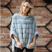 FURSARCAR Real Mink Fur Coat Genuine Leather Poncho Natural Autumn Winter Women Real Fur Luxury Clothes For Female Outerwear