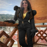 Fleece One Piece Ski Suit Women Snow Overalls Mountain Skiing Jumsuit Super Warm Winter Ski Jacket Pants Breathable Snow Set