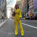 Jumpsuit  Women Elegant Fashion Slim Fit Yellow Solid Skinny Casual Overalls Office Work Lantern Sleeve Mock Neck Jumpsuits