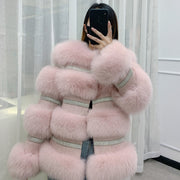 BFFUR  Winter New Real Fox Fur Coat Women Genuine Fox Fur Jacket Splicing Cashmere Woolen Fur Coats With Crystal Diamonds
