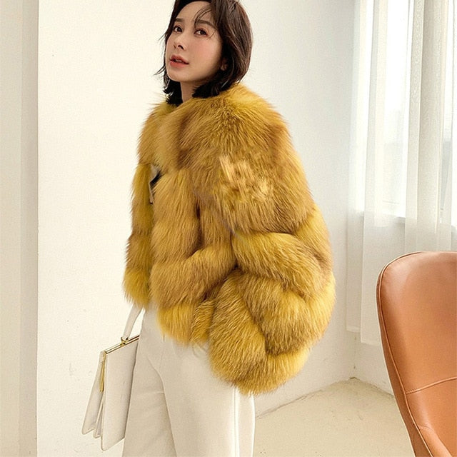 FURSARCAR  New Women Real Fur Coat Winter Genuine Natural Fox Fur Jacket Fashion Short Thicken Red Fox Fur Coats Women