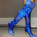 Plus size boots women  autumn/winter new super high heel print over the knee boots stiletto fashion boots Motorcycle boots