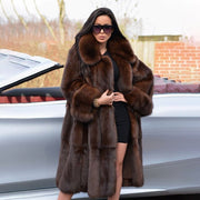 FURSARCAR  Luxurious New Real Natrual Mink Fur Jacket With Collar Women Winter Fashion Design Long Mink Fur Coat Thick