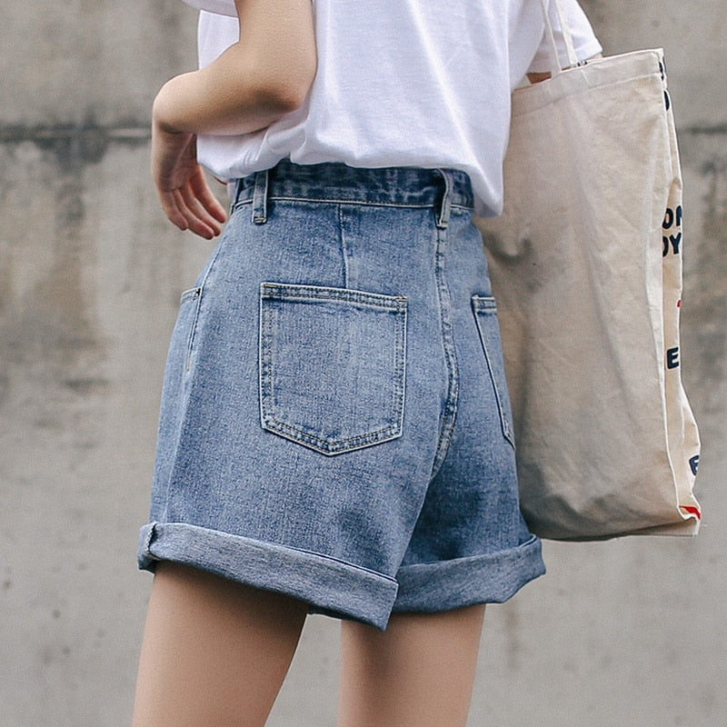 Streetwear High Waist Wide Leg Denim Shorts For Women 2019 New Jean Shorts Women Summer Korean Style Women Loose Short Shorts