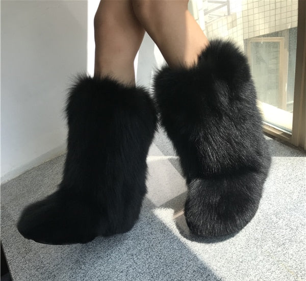 OLOMLB Women's Winter Snow Warm Fur Lining Real Fox Fur Trim Furry Mid Calf Boots Thicken Shoes Leopard 6 Colors Custom Made