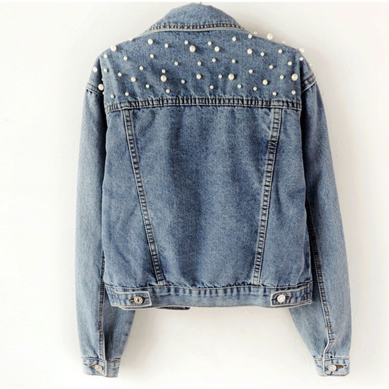 Plus Size Pearl Beading Short Denim Jackets 3Xl 5Xl Women White Wash Long Sleeve Vintage Casual Jean Jacket Bomber Denim Coat