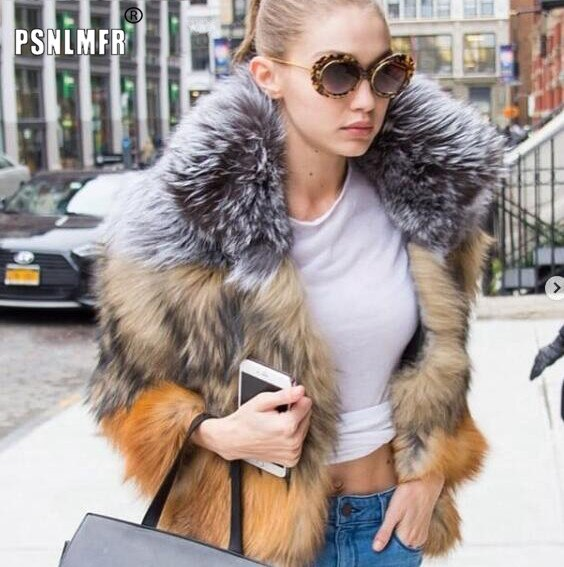 Natural Trendy Gorgeous Fur Coat Chic Glamorous Jackets for Women Winter Woman New Fashion Thick Warm Outerwear Real Fur Coat