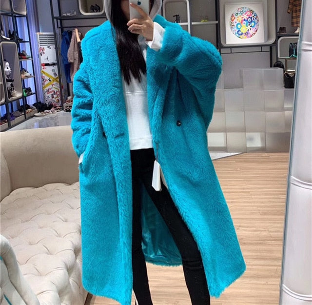 90 % Wool 10% Cashmere Real Fur Coat Women Winter Suit Collar Long Nature Teddy Bear Fur Coats Overcoat