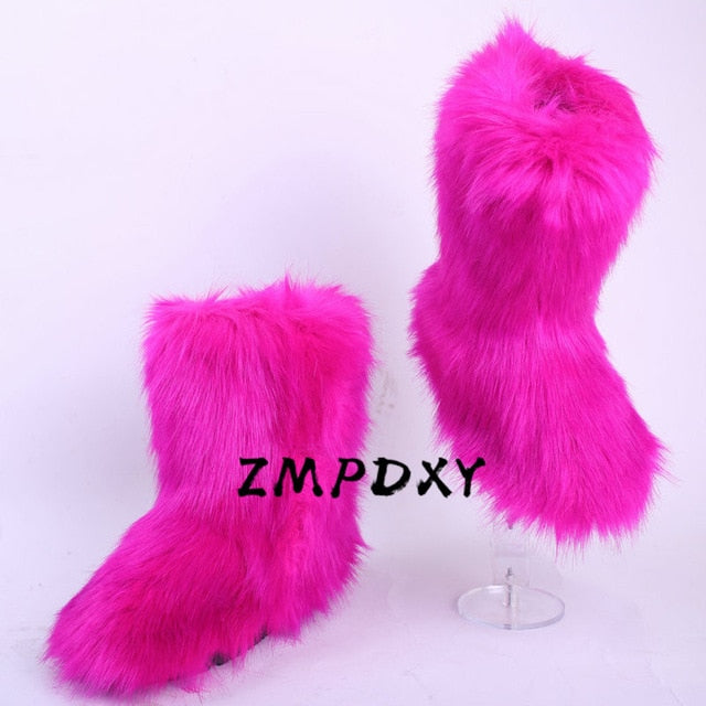 Ladies Fuzzy Fluffy Cotton Shoes Women's Winter Rain High Snow Boots Female Furry Boots Girls Mixed Colour Fur Botas Mujer