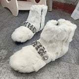 Snow Boots Women Thick Bottom Diamonds Embellished Leather Mink Fur Boots Women Ankle Booties  Female Winter Warm Boots