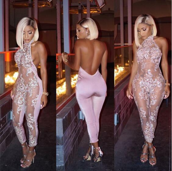 New Fashion Sparkly Perspective Jumpsuit Pink Sexy Flashing Outfit Shining Birthday Party Costume Body Suits Celebrate Wear